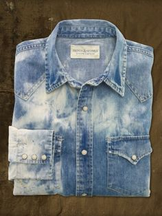 Bleach-Out Western Denim Shirt