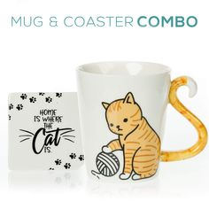 AmazonSmile: Tabby Cat Mug & Coaster Gift Set - Unique Hand Painted Novelty 3D Orange Kitty Ceramic Tea Coffee Mugs Gifts. Includes Cute Coaster With a Fun Home is where the Cat is Phrase: Kitchen & Dining Cute Coasters, Ceramic Coasters, Best Coffee Mugs, Coffee Cups, Dinosaur Mug, Cute Birthday Gift, Clay Mugs, Gifts In A Mug, Gift Mugs