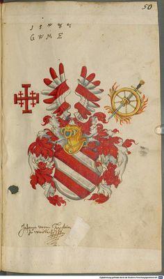 Familienwappen - Wappen mit  Jerusalemkreutz - Heiligen Grabs Ordens /  Coat of Arms  with  Jerusalem's Cross - Order of The Holy Sepulchre / Armas de la Nobleza Alemana con la Orden del Santo Sepulcro - la Cruz de Jerusalén