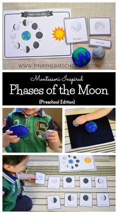 Preschool life cycle of the moon for Montessori learning at home. Moon Activities, Space Activities, Science Activities, Montessori Preschool, Montessori Elementary, Montessori Trays, Elementary Teaching, Elementary Schools, Space Preschool