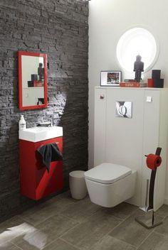 Déco WC rouge et gris avec carrelage Leroy Merlin