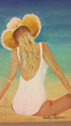 Acrylic painting on canvas 8in x 10in Beautiful sunbather at the beach. etsy.com/shop/barnyardstudio, $29.00