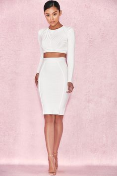 Clothing : Tops : 'Aduto' White Long Sleeve Bandage Top