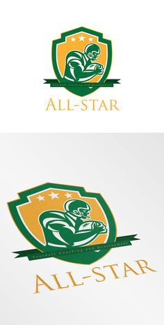 All-Star Football Coaching Logo. Logo showing illustration of an american football gridiron player holding ball running rushing viewed from the side set inside shield crest with stars done