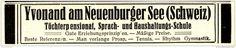 Original-Werbung/ Anzeige 1928 - YVONAND AM NEUENBURGER SEE (SCHWEIZ) - ca. 100 x 20 mm