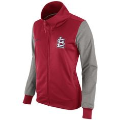 Nike Women's St. Louis Cardinals Track Jacket ($75) ❤ liked on Polyvore featuring activewear, activewear jackets, nike, warm up jackets, track jacket, nike activewear and nike sportswear