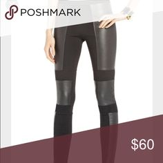 Black leather block leggings Only worn once! Very comfy and very flattering BCBG Pants Leggings