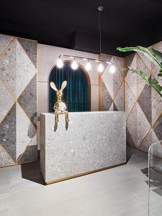 Matteo Cibic creates a ceramic wonderland for the Marazzi Tile Club - News - Frameweb Retail Interior Design, Boutique Interior, Boutique Design, Cafe Interior, Commercial Design, Commercial Interiors, Marazzi Tile, Beauty Salon Decor, Inside Design