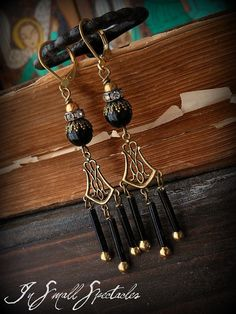 Vintage Glass Tube Bead Brass Onyx Chandelier by InSmallSpectacles, $37.00