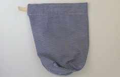 Drawstring bag navy blue and white stripe design by zaninia