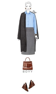 Office outfit: Gray - Blue - Brown by downtownblues on Polyvore #officewear  #longcardigan  #ribbedskirt #tote  #Wedges  #peeptoe  #Intropia #Boyy