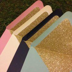 DIY glitter envelope liners