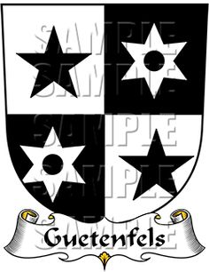 Guetenfels Family Crest apparel, Guetenfels Coat of Arms gifts