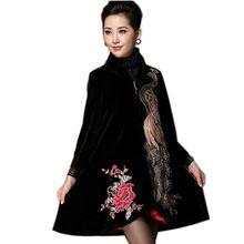 Haft velvet dress kobiety paw aksamitna kardigan cekiny plus rozmiar 6xl odzież kobieta poncho zima wysoki kołnierz suknie