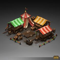 Isometric Marketplace by Sephiroth-Art 3d Fantasy, Fantasy Landscape, Medieval Fantasy, Fantasy House, Low Poly, Environment Concept Art, Environment Design, Prop Design, Game Design