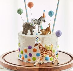 *** The tiger cub from the first Safari Baby Party listing has been discontinued and has sold out. Additional options have been added and the running giraffe, zebra and baby elephant are still available from the first safari party. *** These baby animal c Safari Birthday Cakes, Giraffe Birthday, Safari Cakes, Safari Party, Birthday Animals, 1st Bday Cake, Zoo Animal Cakes, Animal Cakes For Kids, Zoo Cake