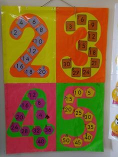 2 3 4 ve 5er ritmik sayma lar pano çalışması Teaching Aids, Teaching Activities, Teaching Math, Classroom Organization, Classroom Decor, Middle School Classroom, Maths Puzzles, Class Decoration, Letter Sounds