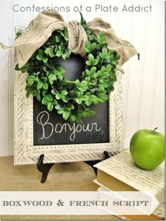 """Love the ivory frame, the chalkboard with """"Bonjour"""" written on it, the French script ribbon, and the boxwood wreath. Could also do a boxwood """"H"""" (w/o the Bonjour) also. French Decor, French Country Decorating, Ikea Hacks, French Country Christmas, Country French, Country Style, Vintage Christmas, Christmas Decor, Ideas"""