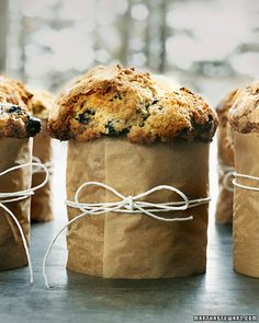 the most adorably rustic blueberry corn muffins. love the parchment paper with twine too!