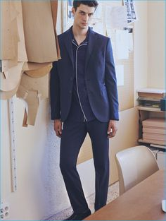 Matthew Bell is front and center in a suit worn with a trendy pajama-inspired top from Mango Man.