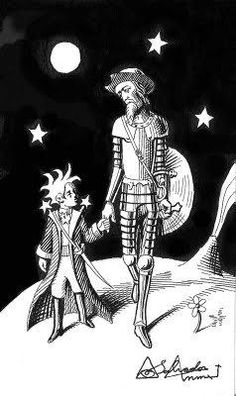 El Principito y Don Quijote The Little Prince Ink Illustrations, Illustration Art, Caballero Andante, Man Of La Mancha, Dom Quixote, Don Miguel, Amazing Drawings, The Little Prince, Cool Posters