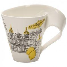 Villeroy & Boch NewWave Caffe Cities of the world Becher mit Henkel Cote d'Azure Wave City, Mugs And Jugs, Desktop Storage, Villeroy, China Porcelain, Mug Cup, World, Tableware, Gifts