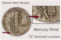 Reverse of Denver Mint Mercury Dime Indicating Mintmark Location Old Coins Worth Money, Old Money, Silver Dimes, Silver Coins, Coin Collection Value, How To Clean Coins, Silver Value, Old Coins Value, Valuable Coins