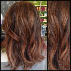 Caramel and brown hair with rose gold accents