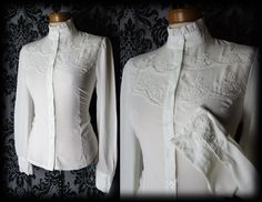 Goth Cream Lace Bib PENITENCE High Neck Blouse 10 12 Victorian Governess Vintage - £24.00