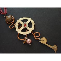 Steampunk Necklace Cuckoo clock Parts Wire Wrapped with Eye Tiger... (€25) via Polyvore featuring accessories