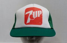 Vintage 1980's 7UP Baseball Truckers Cap Hat Mesh Foam backing all most new condition by LouisandRileys on Etsy