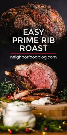 It doesnt get any better (or easier) than this Salt and Pepper Crusted Prime Rib Roast recipe. Save this Prime Rib recipe for the holidays or anytime you want a celebration worthy dinner! This tender prime rib recipe is the perfect holiday menu idea too! Easy Prime Rib Roast Recipe, Slow Roasted Prime Rib, Roast Beef Recipes, Rib Recipes, Cooking Recipes, Ribs Recipe Oven, Beef Rib Roast, Oven Roasted Prime Rib Recipe, Gastronomia