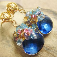 Blue quartz gold earrings pink blue topaz, yellow citrine cluster cascade filigree katecojewelry on Etsy, $335.00