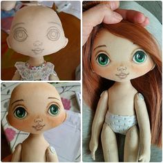 That's how babies are born . I work on a car right away - Diy Doll Hair Doll Face Paint, Doll Painting, Peg Doll, Doll Eyes, Sewing Dolls, Doll Tutorial, Doll Maker, Soft Dolls, Doll Crafts