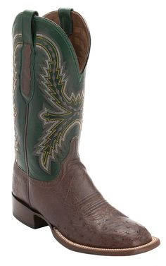 Lucchese® Cowboy Collection™ Men's Sienna Brown Smooth Ostrich with Green Upper Exotic Square Toe Cowboy Boots