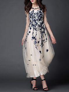Floral Evening Polyester 3/4 Sleeve A-line Evening Dress