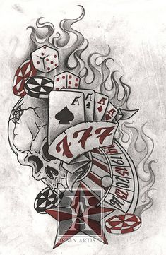 See more ideas about gambling tattoos, poker tattoo and tattoo designs. vegas and casino tattoos artworks, motive and tattoo ideas gallery. Skull Tattoos, Sleeve Tattoos, Cool Tattoos, Poker Tattoos, Awesome Tattoos, Bicep Tattoos, Ankle Tattoos, Wrist Tattoo, Image Clipart