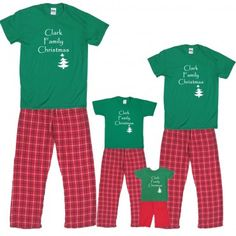 Personalized family christmas pajamas. We want to do something like this for a Christmas card. Something silly. This will be our first Christmas morning as a family. Cute to hVe matching pajamas.