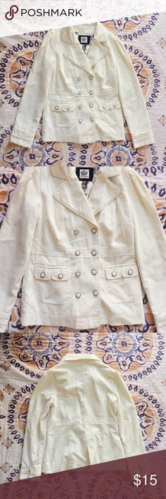 Lightweight Corduroy Jacket Super cute cream colored lightweight corduroy jacket with double breasted buttons down the front and two pockets. Fun crown print on the inside. Perfect condition. Only worn once! Forever 21 Jackets & Coats Pea Coats