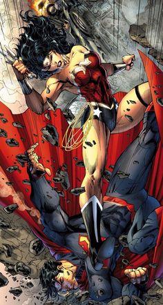 Superman v Wonder Woman by Jim Lee (DC comics) Arte Dc Comics, Dc Comics Art, Comics Girls, Comic Book Characters, Comic Book Heroes, Comic Character, Character Concept, Comic Art, Comic Books Art