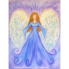 Angel Wisdom Portrait | $44 Angel Wisdom is violet and blue, the colors of the Guardian Angel. Having a portrait of an Angel can help you to align with the essence and qualities of your Angels.