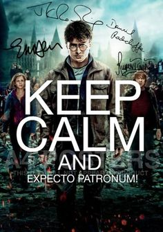 Harry Potter Keep Calm And Expecto Patronum Signed PP x4 Daniel Radcliffe Rupert Grint Emma Watson JK Rowling Unique A4 21cm x 29.7cm Poster Photo:Amazon:Kitchen & Home