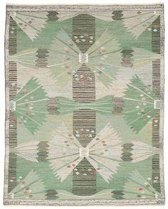 "RUG. ""Park Barkåkra IV"". Tapestry weave (gobelängteknik). 191,5 x 152,5 cm. Signed AB MMF BN."