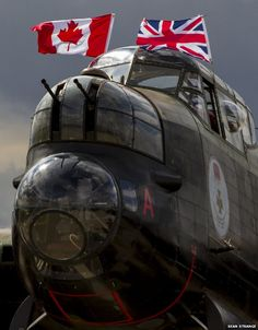 A Canadian Lancaster plane heads back home after appearing at events across the UK with its RAF counterpart. Lancaster Plane, Lancaster Bomber, Ww2 Aircraft, Military Aircraft, Aircraft Carrier, V Force, Engin, Ww2 Planes, Nose Art