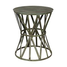 Wanderloot Truss Green Distressed Industrial Metal Side Table (India)