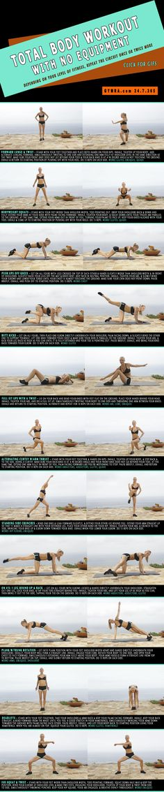 Total Body Workout with No Equipment. A series of fast workouts to burn fat in 40 min.