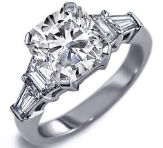Fancy - Engagement Ring - Cushion Cut diamond Engagement Ring setting with trapezoids and baguettes 0.60 tcw. - ES25CU