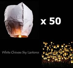 50-pk White Paper Chinese Sky Lanterns Outdoor Flying Wish Party Fire Lamps