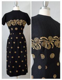 50s Anne Fogarty Vintage Black Wool Wiggle by RedLightVintageShop
