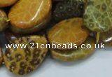 Twisted & flat teardrop natural yellow chrysanthemum agate gemstone beads  $8.16